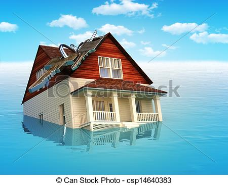 Stock Illustration of House sinking in water ,real estate housing.
