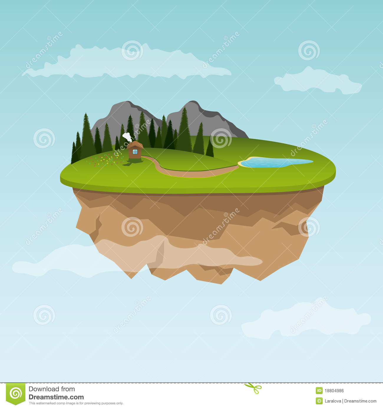 Floating Island With Small House Royalty Free Stock Image.