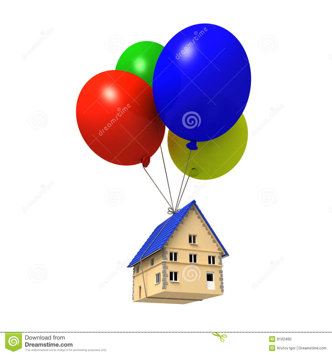 House Floating With Balloons Stock Photo.