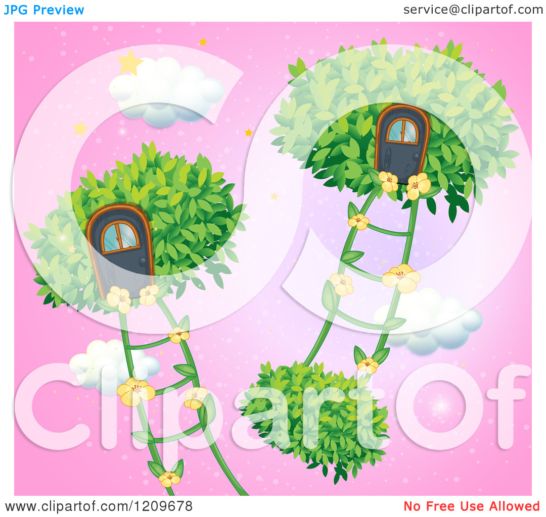 Cartoon of Floating House Bushes with Clouds and Flower Ladders.