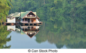 Picture of Floating house, Kwai river, Thailand csp13011375.