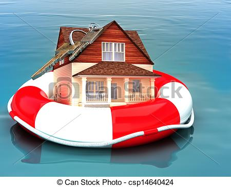 Clip Art of Home floating on a life preserver. Symbolizing a.