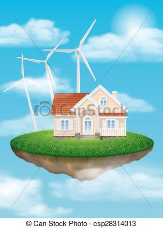Vector Clip Art of House with wind turbines on a floating island.