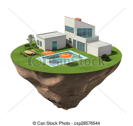 Drawing of Villa house with buildings and swimming pool on.
