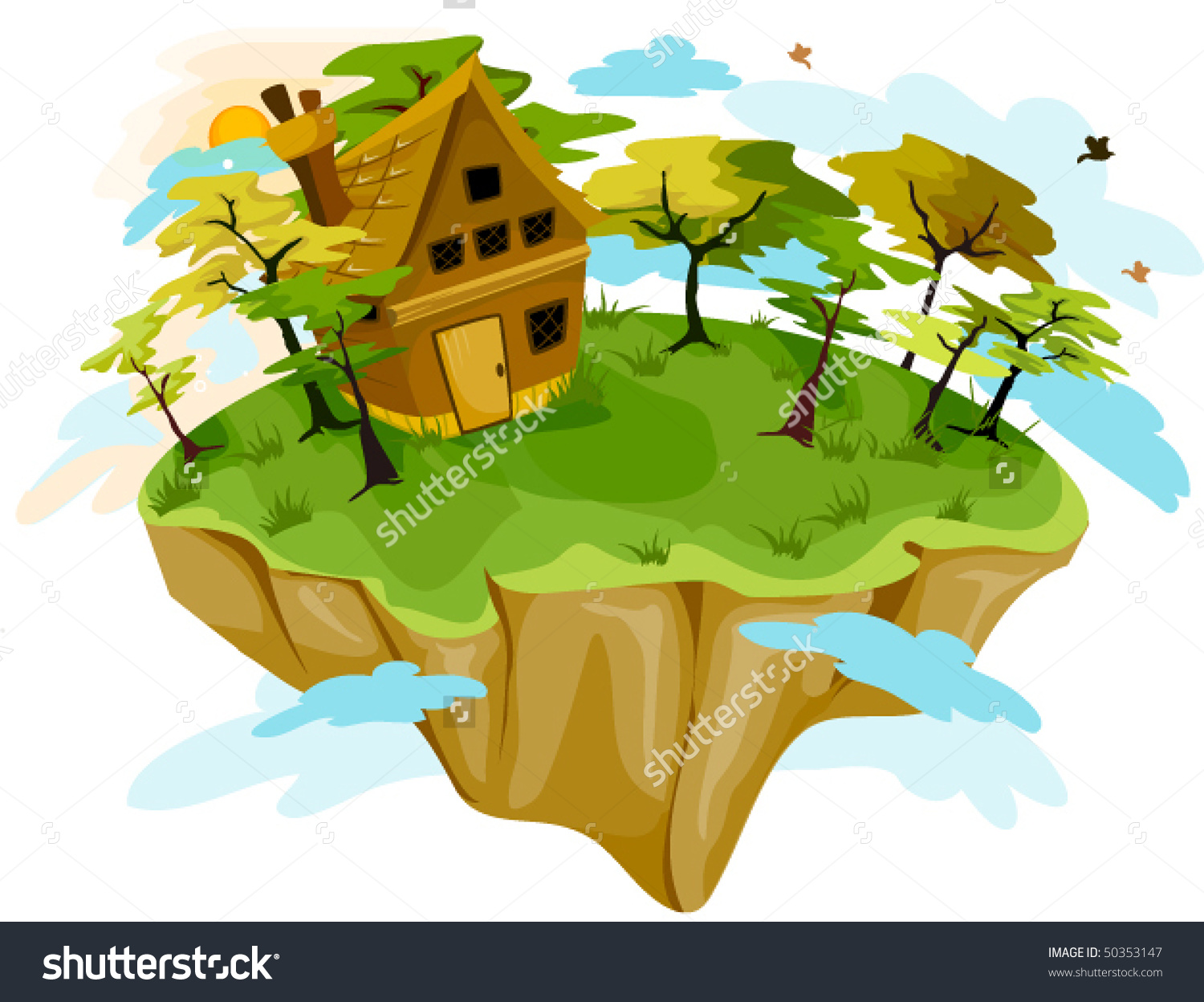 House On Floating Island Vector Stock Vector 50353147.