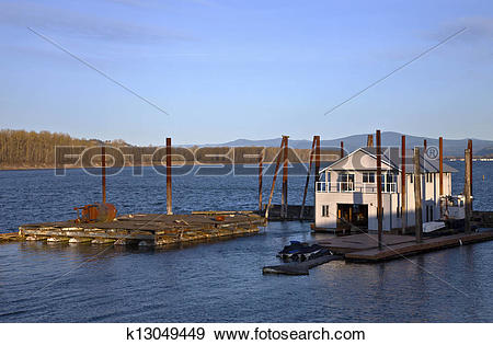 Stock Photograph of Floating house on the Columbia river.