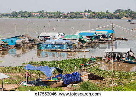 Stock Images of Floating houses for poor Vietnamese x17553046.