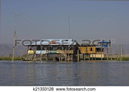 Pictures of Typical floating houses on Inle Lake k21333128.