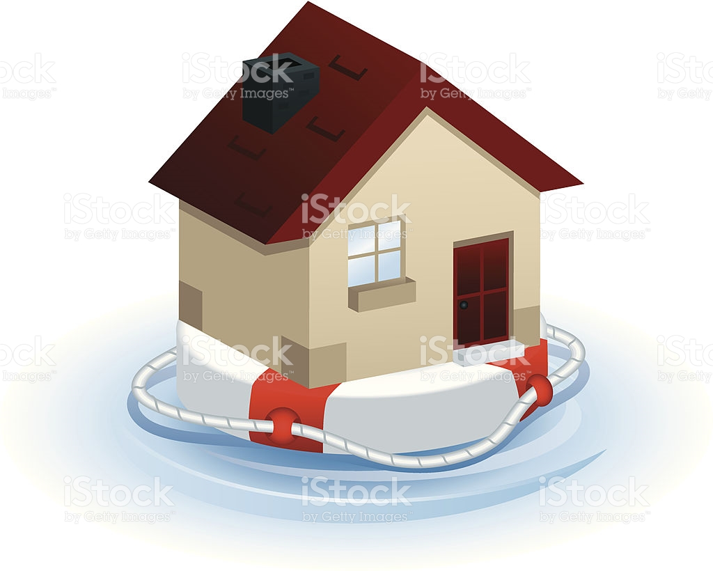 Floating House On Life Buoy stock vector art 165769425.