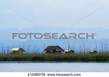 Stock Photo of Floating houses on Inle Lake k15469734.