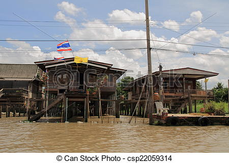 Stock Photography of Floating house in Bangkok, Thailand.
