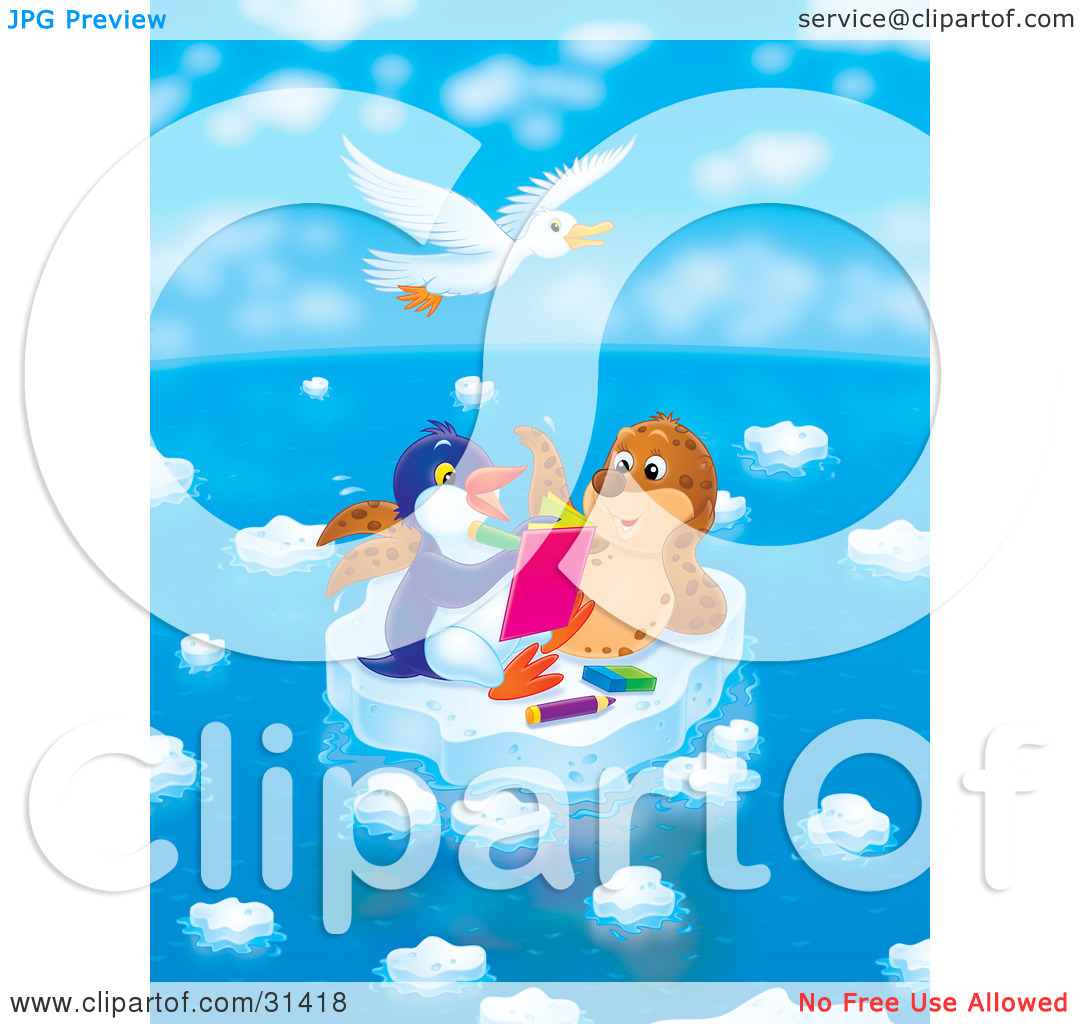 Clipart Illustration of a White Gull Flying Above A Seal Chatting.