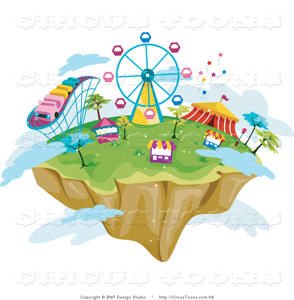 Circus Clipart of a Floating Island in the Sky with Theme Park.