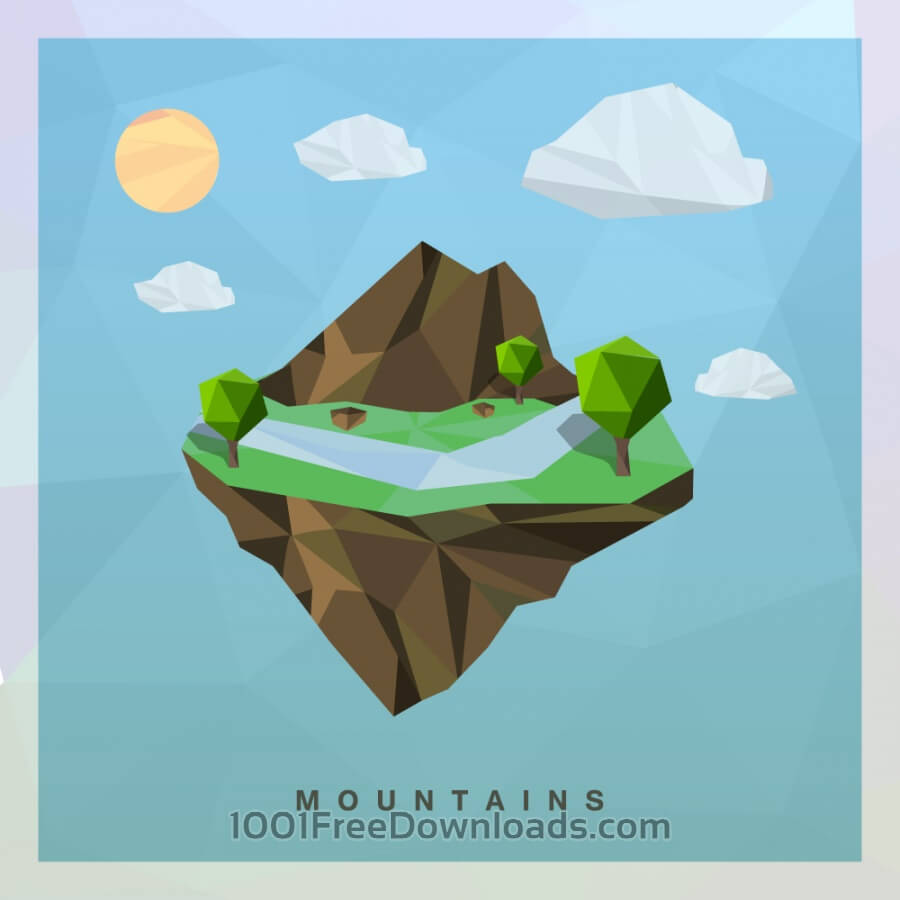 Free Vectors: Isometric mountain Vector Floating Island.
