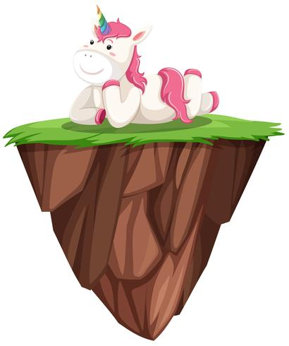 Cute pink unicorn on floating island.