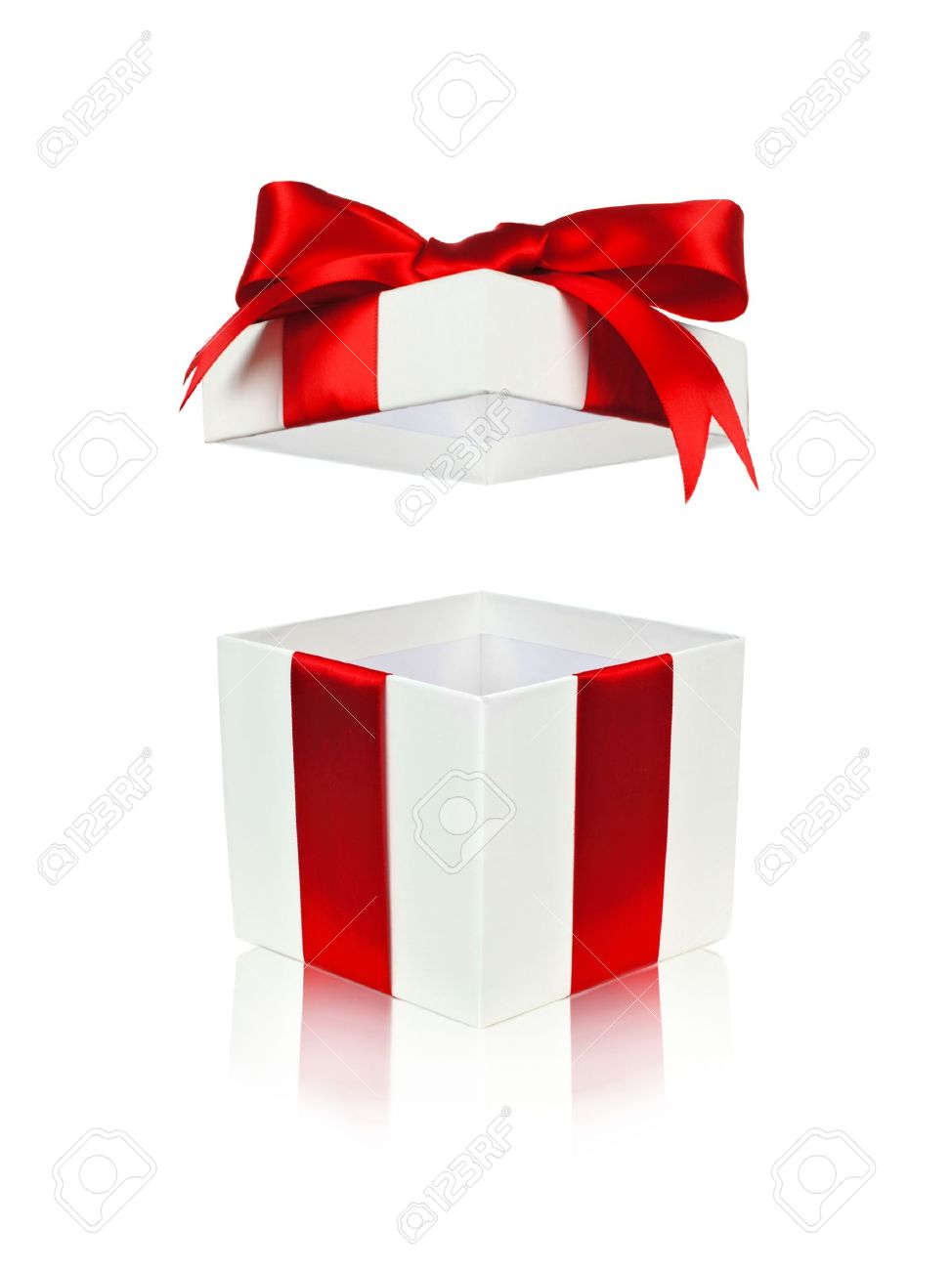 Open Red And White Gift Box With Floating Lid Isolated On White.