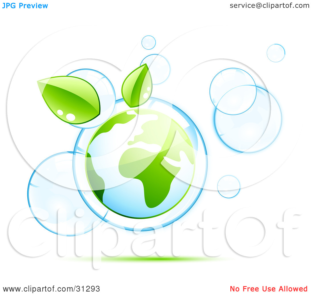 Clipart Illustration of Planet Earth And Two Green Leaves Floating.