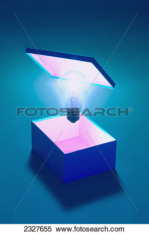 Stock Image of Conceptual photo of an illuminated box with a.