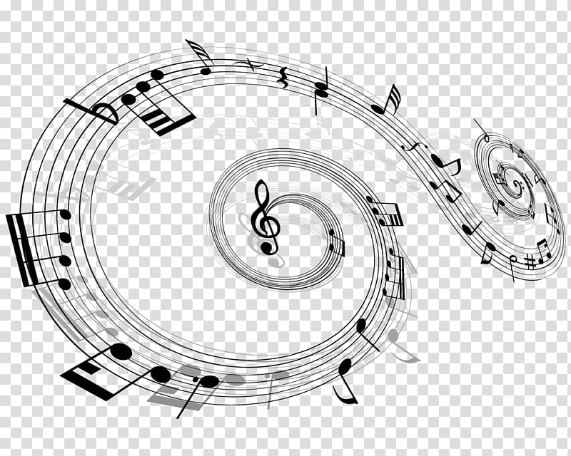 Musical note , Music notes floating material transparent.