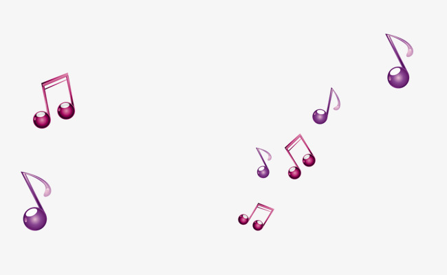 Purple music notes floating material PNG clipart.