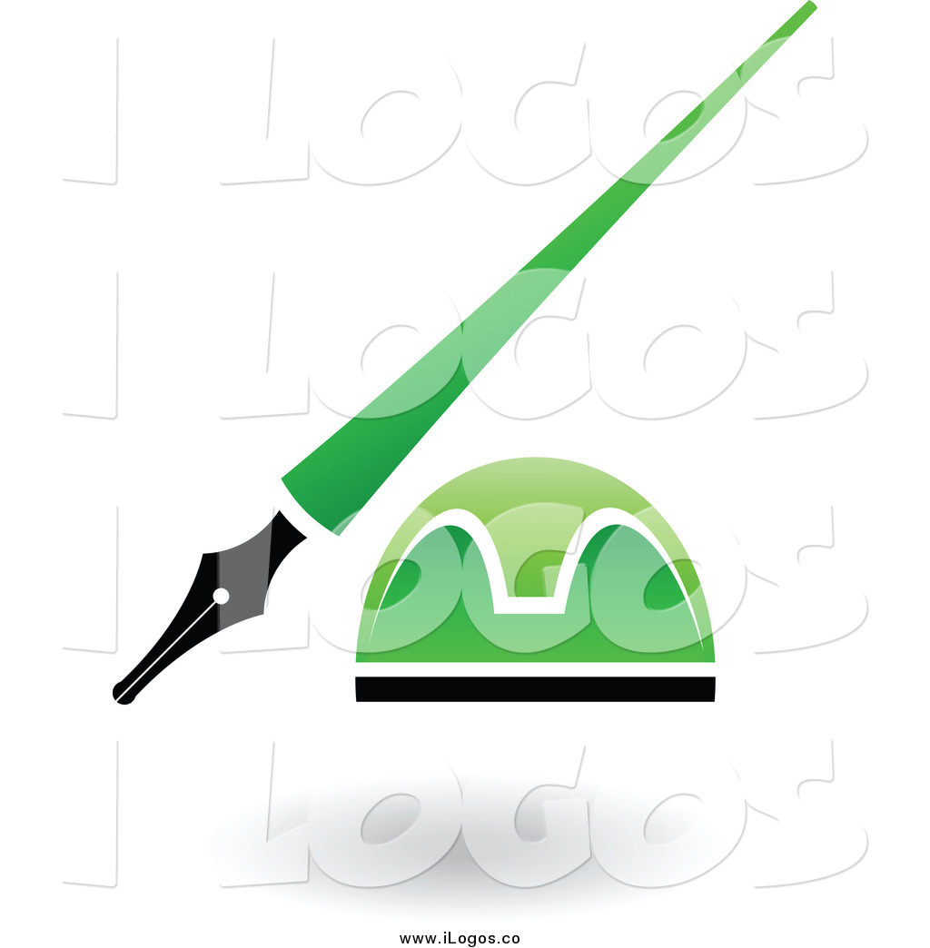 Green pen and ink clipart.