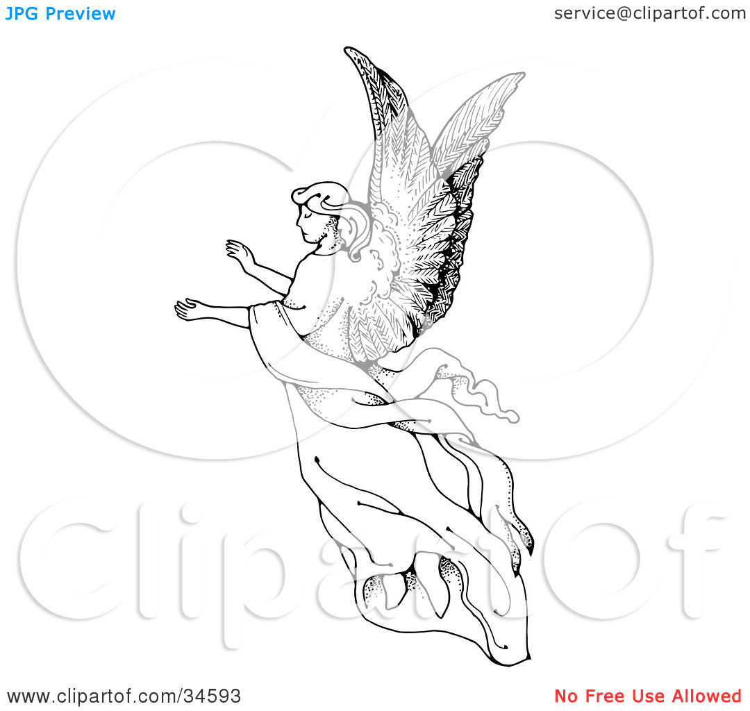 Clipart Illustration of a Graceful Female Angel With Large Wings.