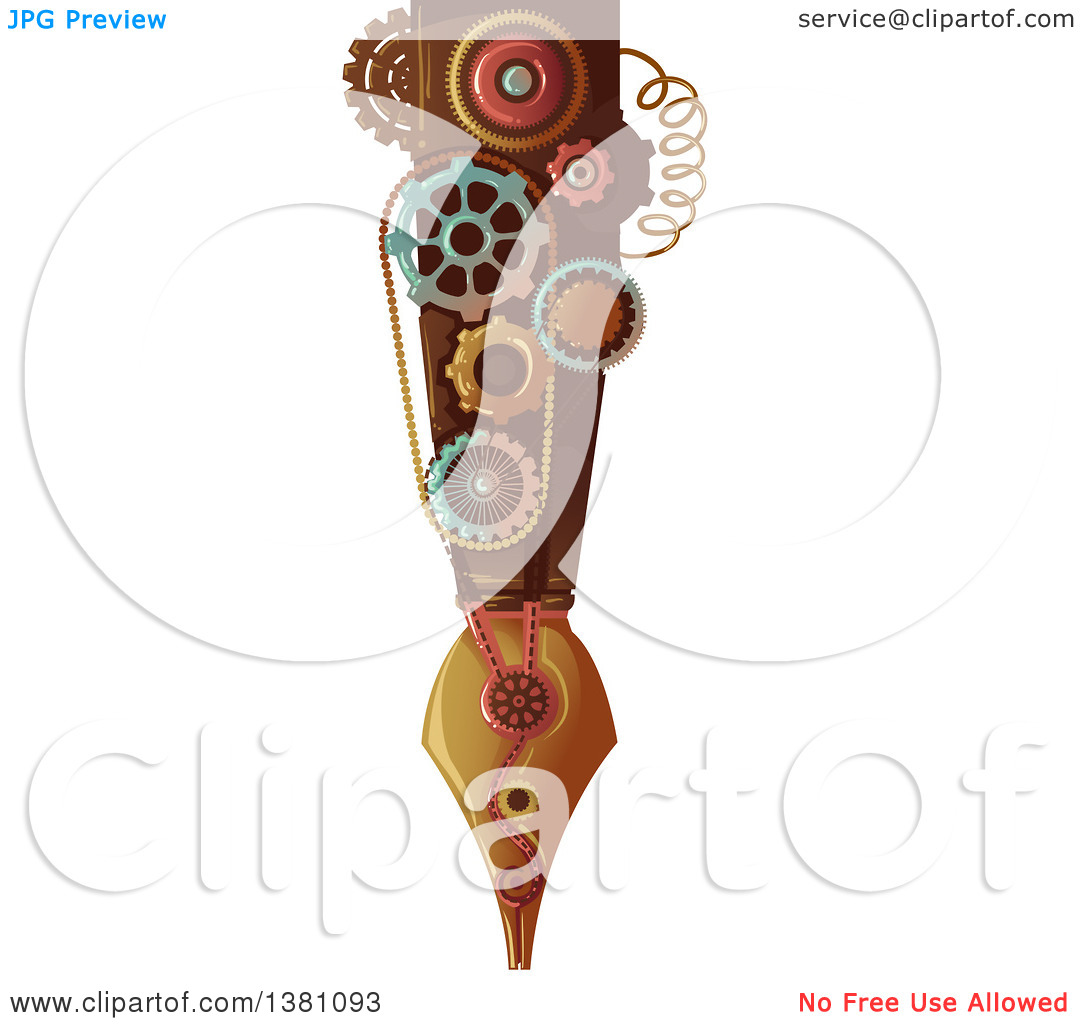 Clipart of a Victorian Steampunk Fountain Pen with Gears.