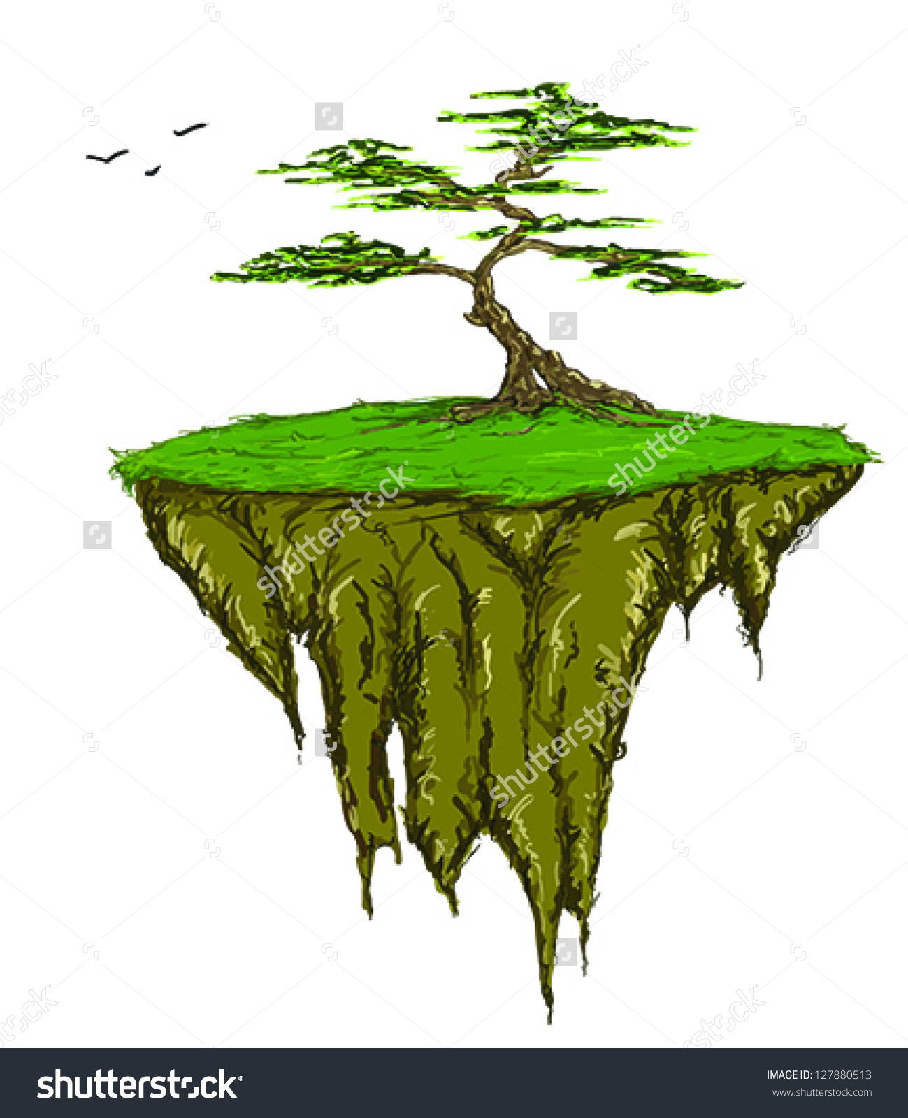 Tree Growing On Floating Island Vector Stock Vector 127880513.