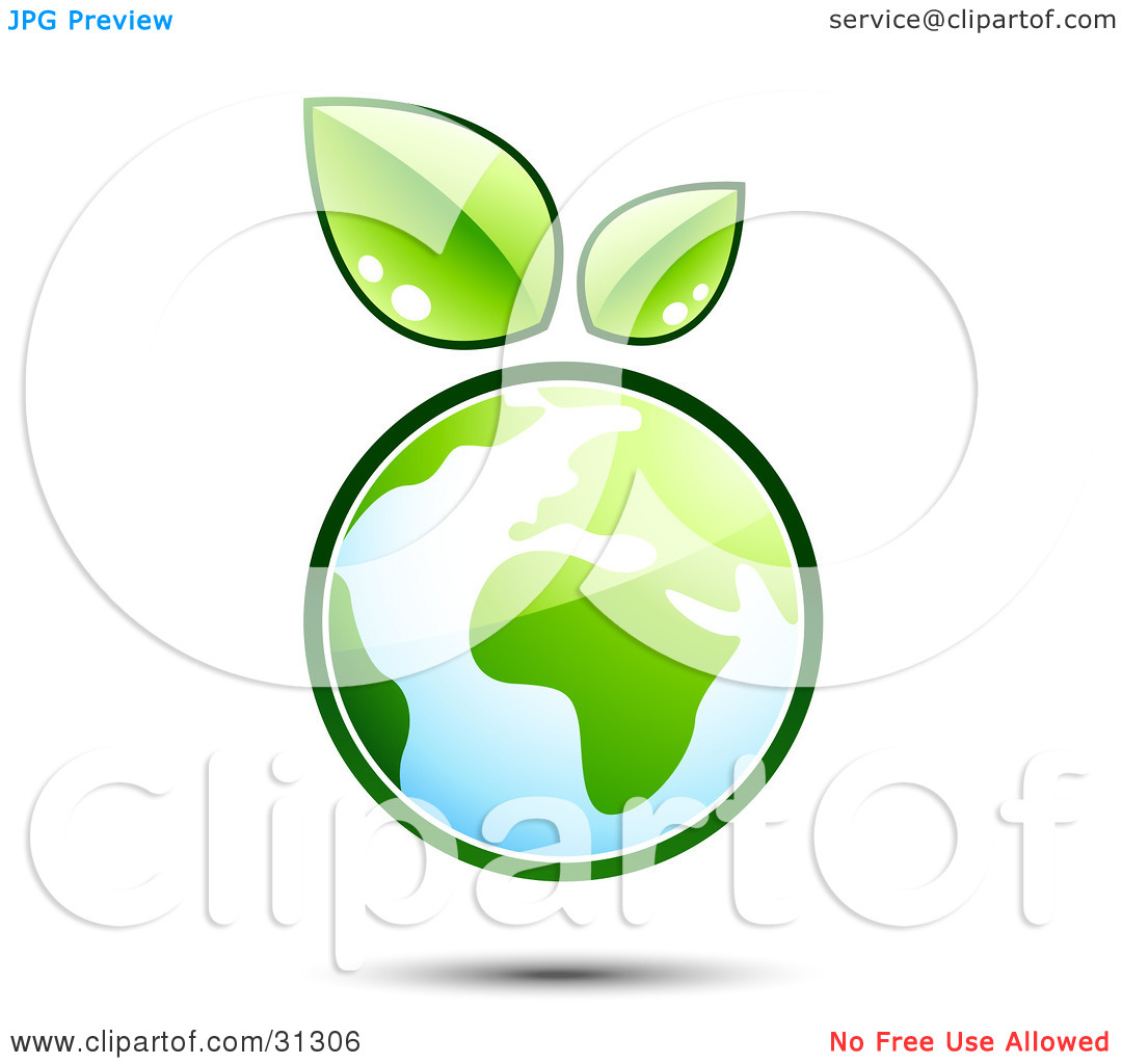 Clipart Illustration of Planet Earth Outlined In Green, With Two.
