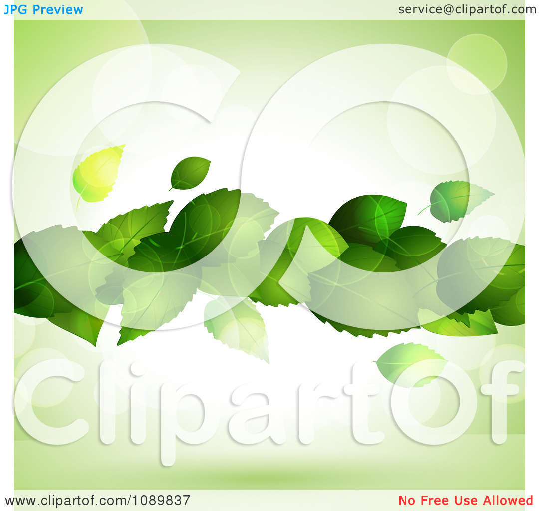 Clipart 3d Floating Green Plant Leaves Over Flares With Copyspace.