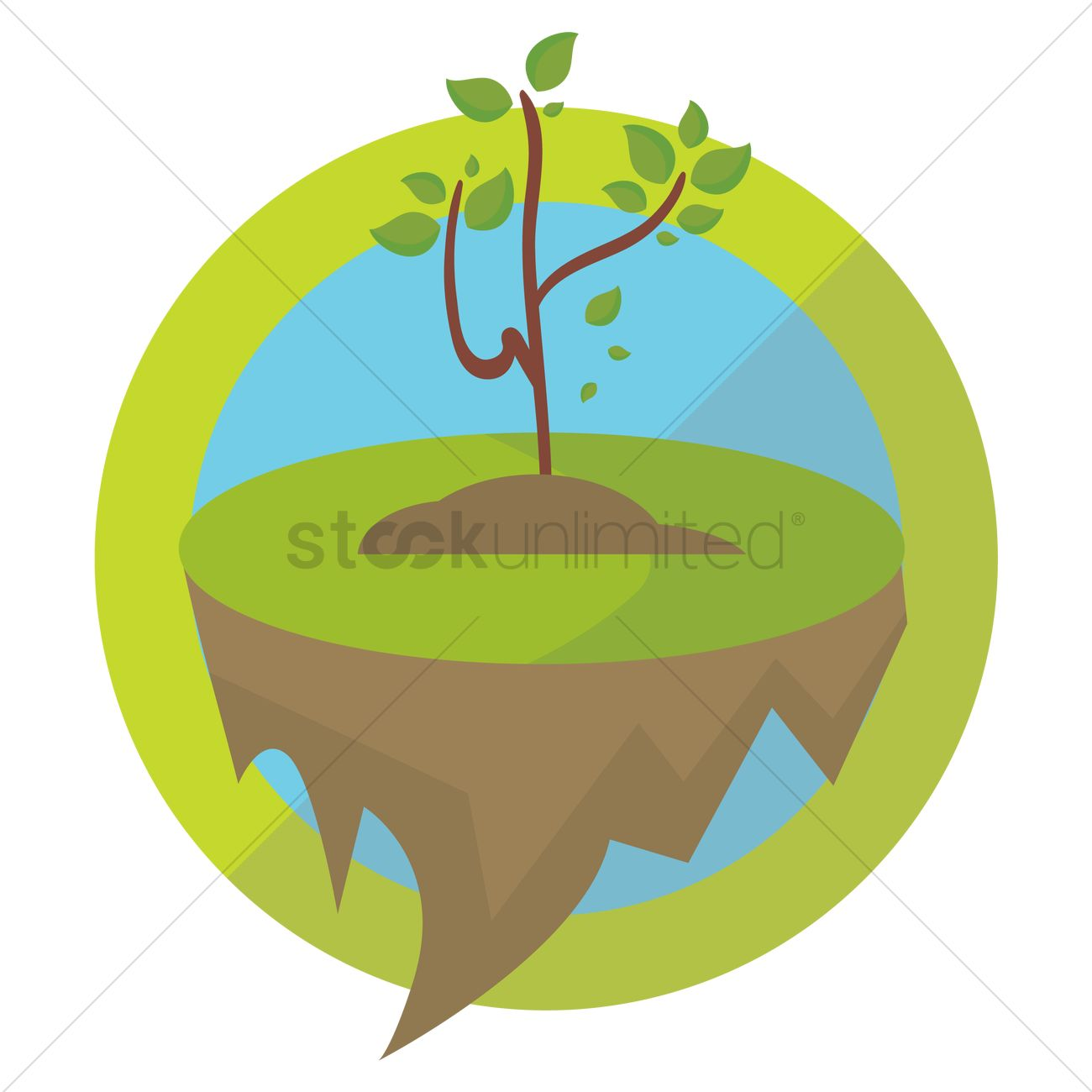 Plant growing on floating ground Vector Image.