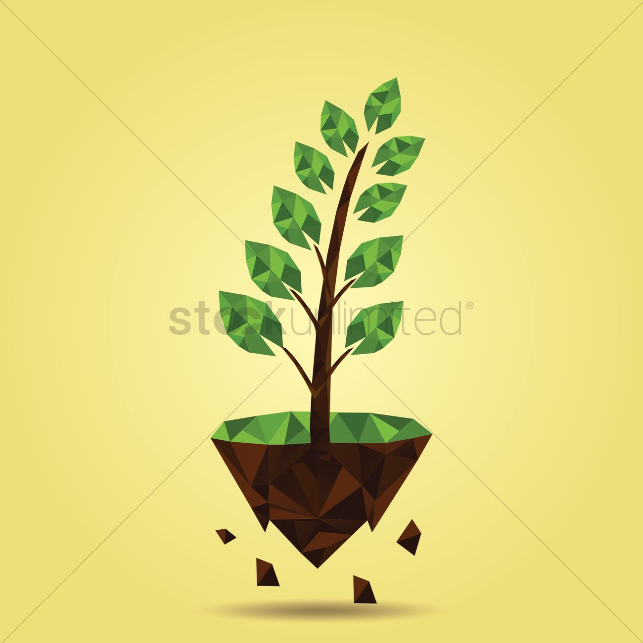 Free Plant on floating island Vector Image.
