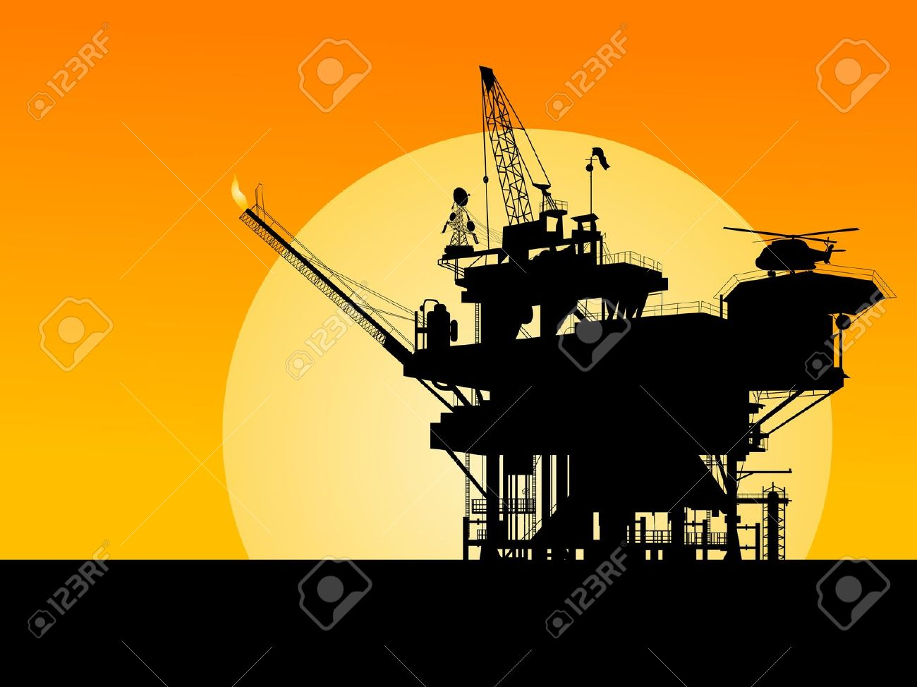Silhouette Of An Oil Platform In The Sunset Royalty Free Cliparts.