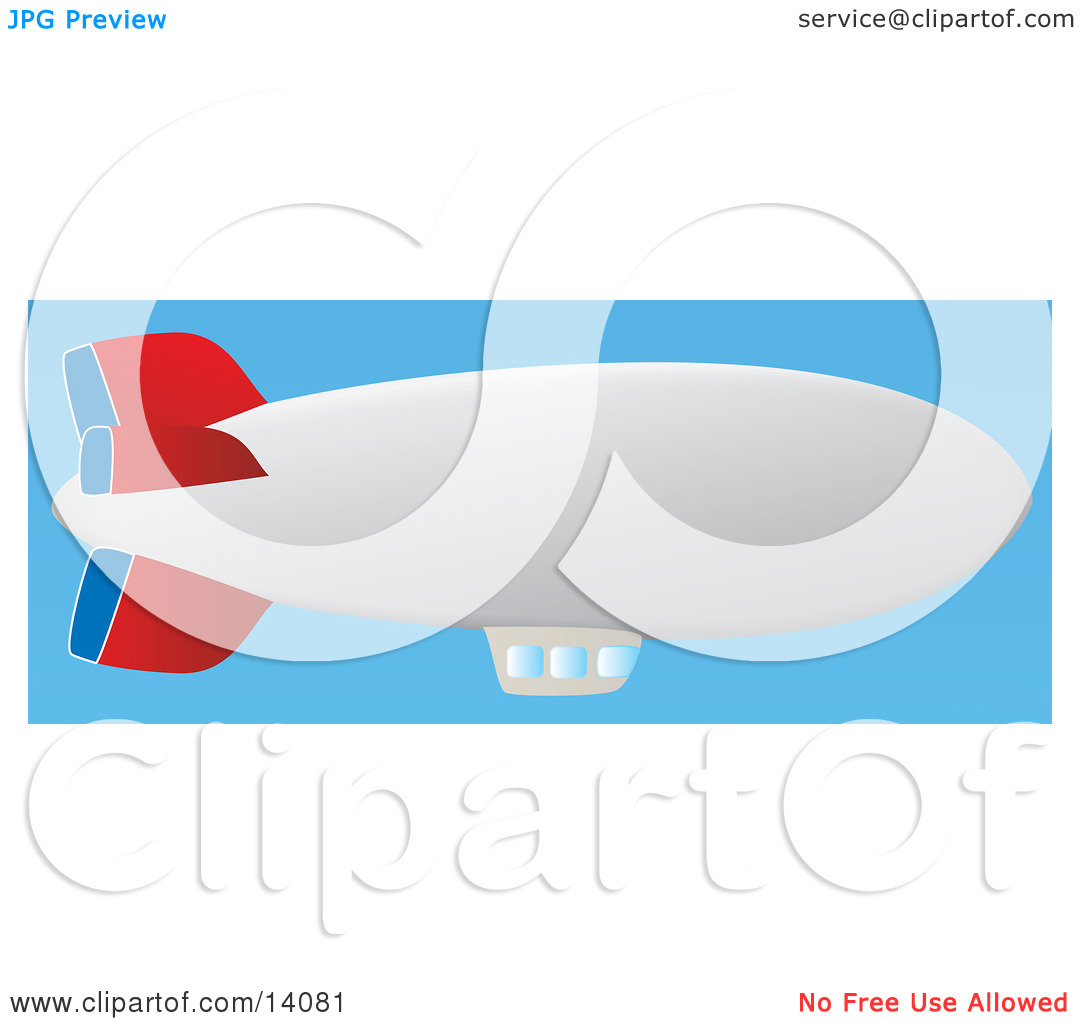 Red, Blue and White Airship With a Window Platform, Floating in a.