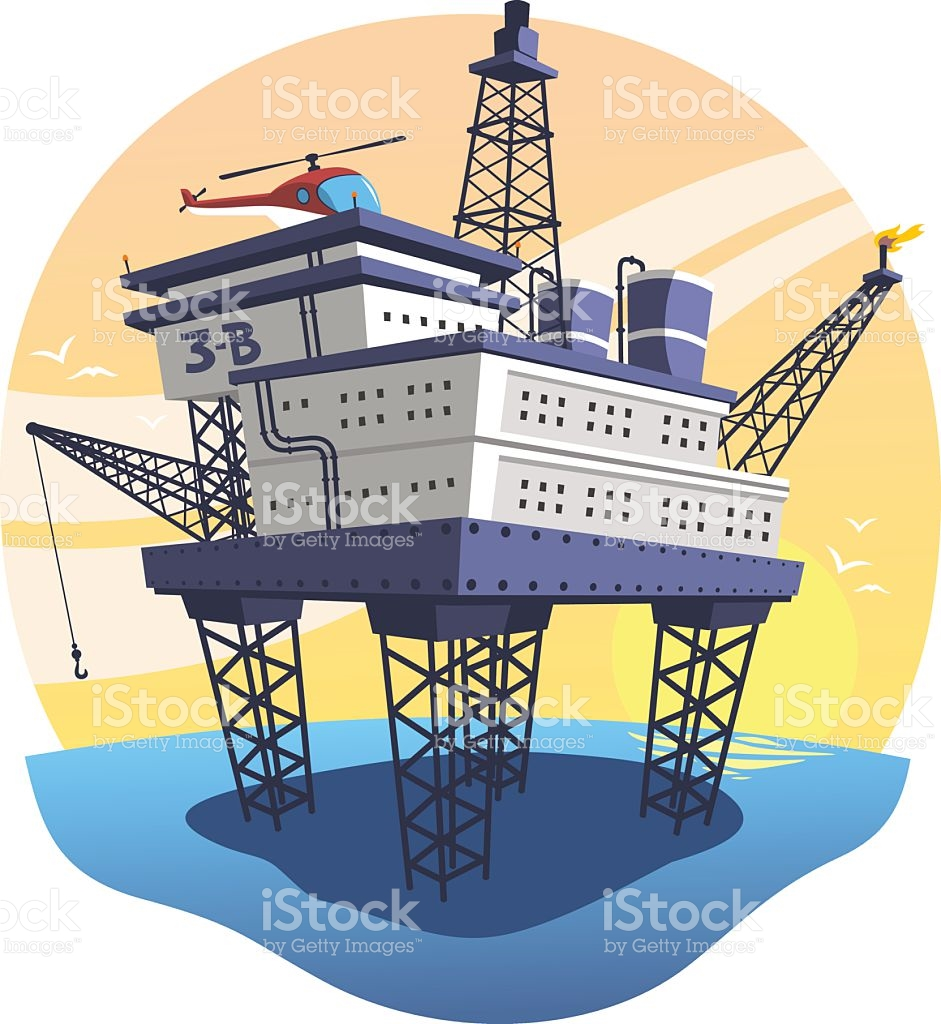 Oil Platform Floating Over The Sea With Helicopter stock vector.