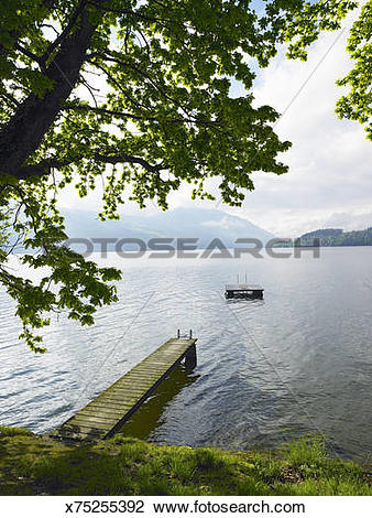 Stock Photo of Switzerland, Risch, jetty and floating platform on.