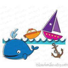 Motor Boats Life Float Steering Wheel Nautical Doodle Clip Art.
