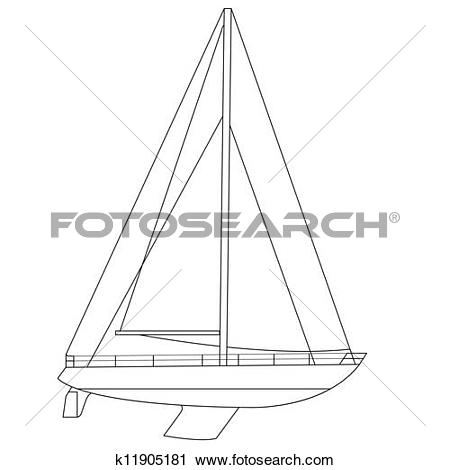 Clipart of Sailing boat floating. Vector illustration. k11905181.