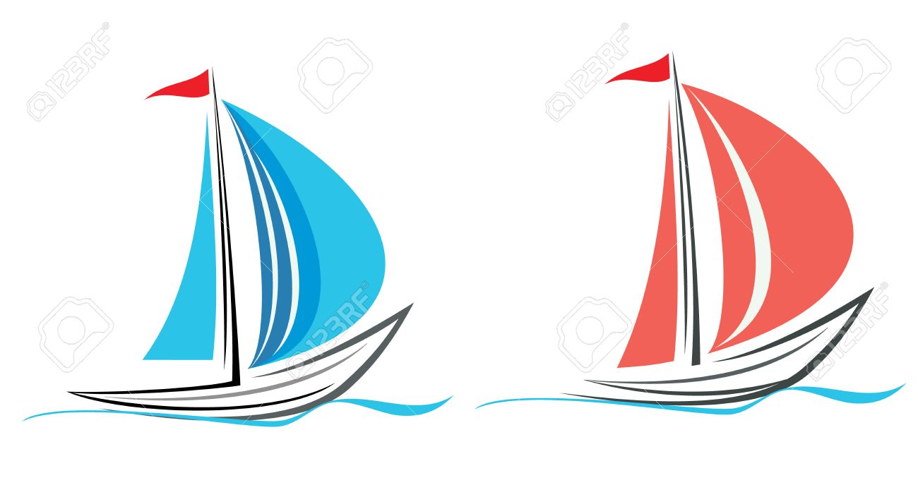 Sailing Boat. White Sailboat On The Blue Water. Yacht That Sails.