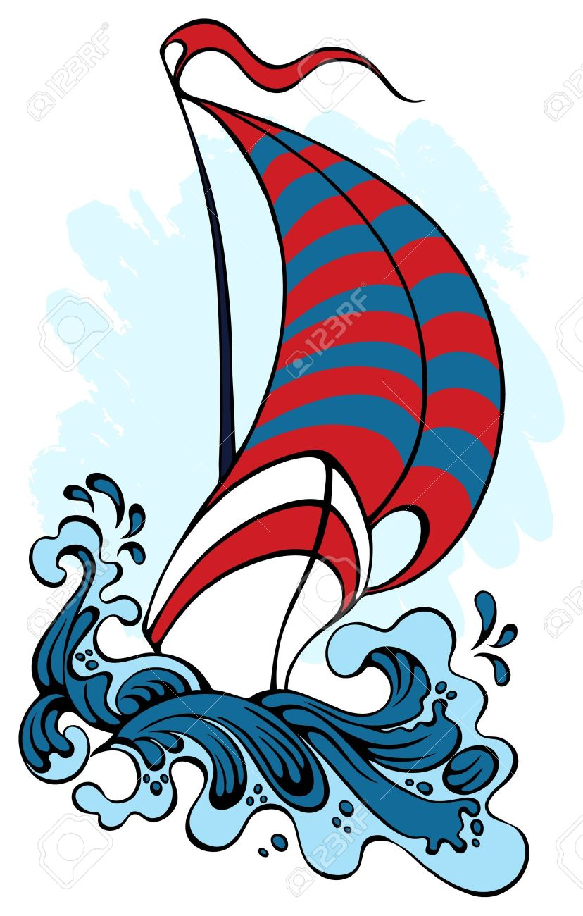 Sailing, Floating On The Waves Royalty Free Cliparts, Vectors, And.
