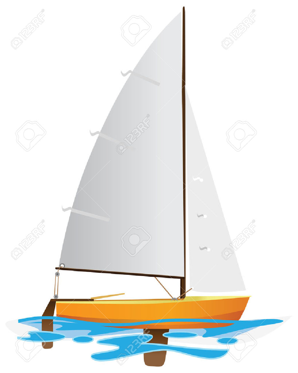 Sailing Boat Floating On Water Surface. Color Illustration.