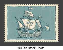 Clipart Vector of Sailboat, floating on the waves.