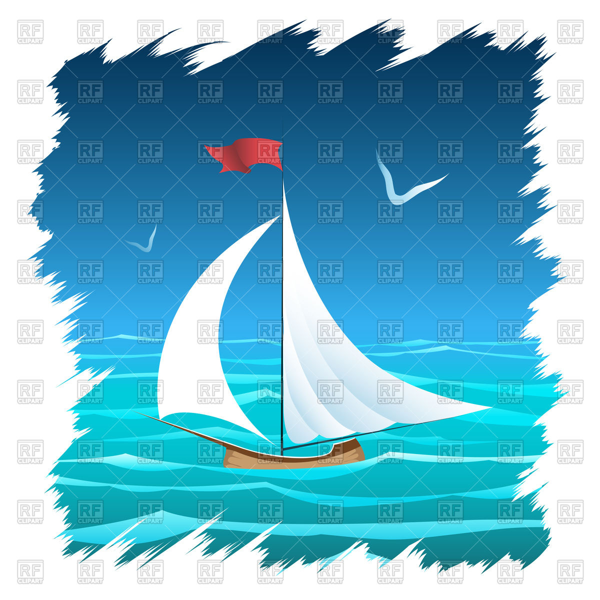 Sailboat floating in the sea Vector Image #94077.