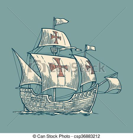Vector Clip Art of Sailing ship floating on the sea waves. Caravel.
