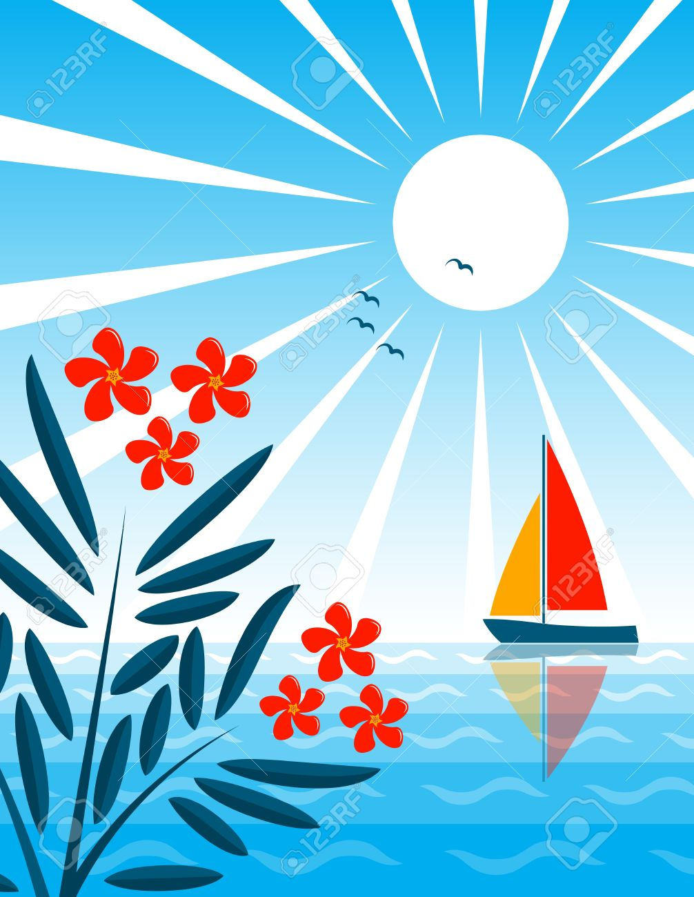 Oleander And Sailboat Floating On The Sea Royalty Free Cliparts.