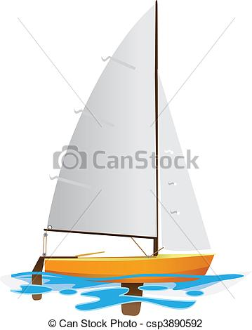 Vector Illustration of Sailing boat floating on water surface.