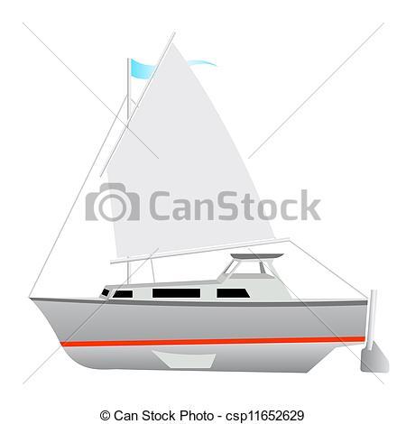 Vector Illustration of Sailing boat floating. Vector illustration.