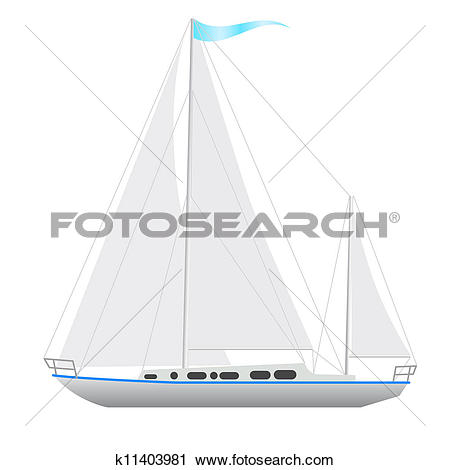 Clipart of Sailing boat floating. k11403981.