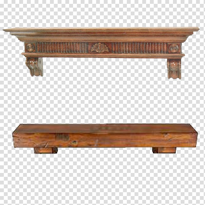 Two brown wooden bench and shelf art, Floating shelf.
