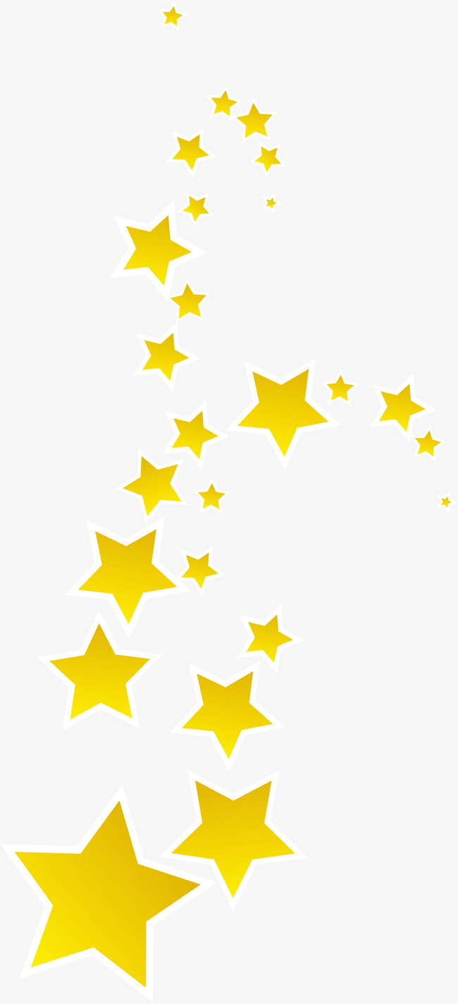 Yellow floating stars PNG clipart.